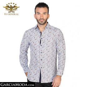 Camisa El General Western Wear 43025-Blanco-Navy