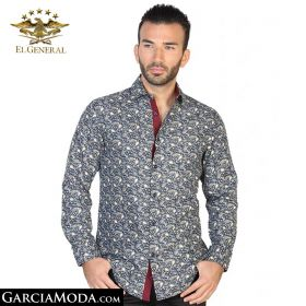 Camisa El General Western Wear 43026-Navy-Blanco