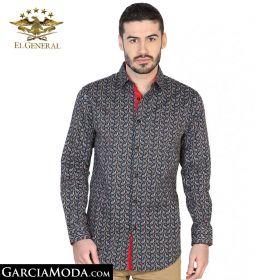Camisa El General Western Wear 43070-Negro-Rojo