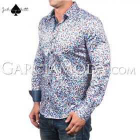 Johnny Matt Luxury shirts JM-1057 Turquoise with a multi color pixel pattern and contrast inner details