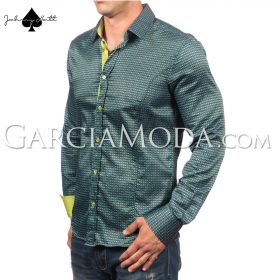 Johnny Matt Luxury shirts JM-1064 Green with a modern pattern design and contrast inner details