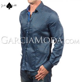 Johnny Matt Luxury shirts JM-1064 Royal with a modern pattern design and contrast inner details