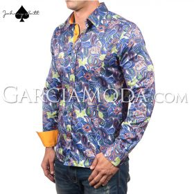 Johnny Matt Luxury shirts JM-1066 Royal  paisley design and contrast inner details