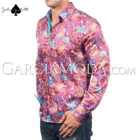 Johnny Matt Luxury shirts JM-1067 Pink with a modern paisley design and contrast inner details