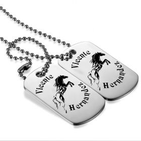 Tribal Flame Horse Personalized stainless steel Twin DogTag necklace