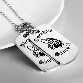 Tribal Wolf Personalized stainless steel Twin DogTags
