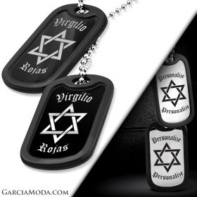 Star Of David 316L Personalized Stainless Steel Military Dog Tags