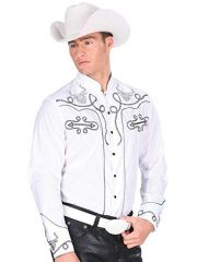 Camisa Charra Montenegro Western Wear 33791 Blanca