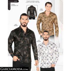 Camisa Lamasini 4345-Camel-Negro-Blanco