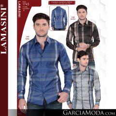 Camisa Vaquera Lamasini 1745-Negro-Azul-Gris