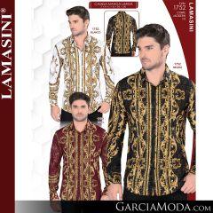 Camisa Vaquera Lamasini 1752-Blanco-Negro-Vino