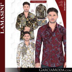 Camisa Vaquera Lamasini 1753-Negro-Vino-Blanco