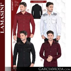 Camisa Vaquera Lamasini 1755-Rojo-Blanco-Negro-Vino
