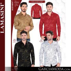 Camisa Vaquera Lamasini 4352-Camel-Rojo-Negro-Blanco
