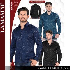 Camisa Vaquera Lamasini 4353-Azul-Navy-Negro