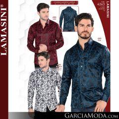 Camisa Vaquera Lamasini 4363-Vino-Teal-Blanco