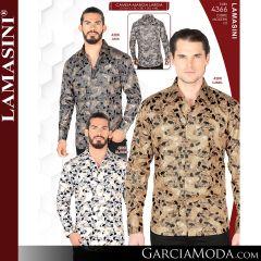Camisa Vaquera Lamasini 4366-Gris-Camel-Blanco