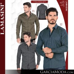 Camisa Vaquera Lamasini 4372-Olivo-Navy-Negro