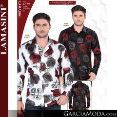 Camisa Vaquera Lamasini 4379-Negro-Blanco