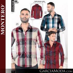 Camisa Vaquera Montero Western 0387-Azul-Beige-Vino