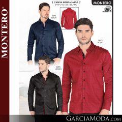 Camisa Vaquera Montero Western 0695-Navy-Rojo-Negro