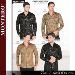 Camisa Vaquera Montero Western 0710-Negro-Beige-0708-Beige-0713-Negro