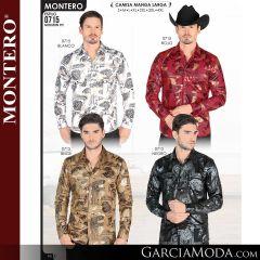 Camisa Vaquera Montero Western 0715-Blanco-Rojo-Beige-Negro