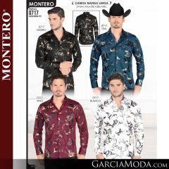 Camisa Vaquera Montero Western 0717-Negro-Teal-Vino-Blanco
