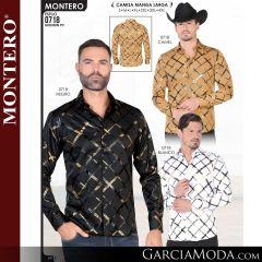 Camisa Vaquera Montero Western 0718-Camel-Negro-Blanco