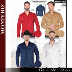 Camisa Vaquera Montero Western 0723-Rojo-Camel-Azul-Blanco