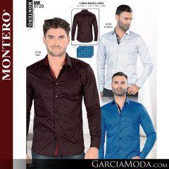 Camisa Vaquera Montero Western 0729-Blanco-Vino-Azul