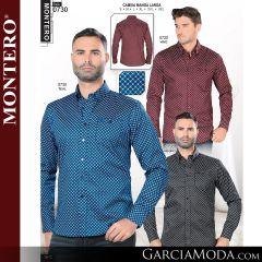 Camisa Vaquera Montero Western 0730-Vino-Teal-Negro