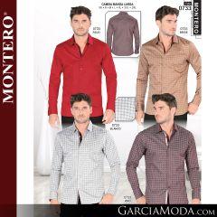 Camisa Vaquera Montero Western 0733-Rojo-Beige-Blanco-Vino