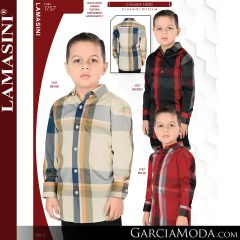 Camisa Lamasini niño 1704-Cafe-Rojo-Blanco