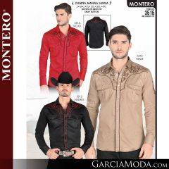 Camisa Vaquera Montero Western 3515-Rojo-Beige-Negro