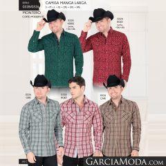 Camisa Vaquera Montero Western 0328 Verde Rojo 0326 Gris Rojo Cafe