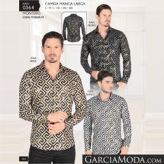 Camisa Montero Western 0364 Negro Beige Blanco