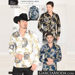 Camisa Montero Western 0369 Negro Blanco Navy