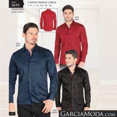 Camisa Montero Western 0695 Rojo Navy Negro