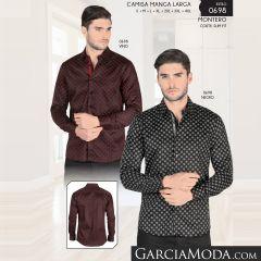 Camisa Montero Western 0698 Vino Negro