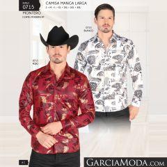 Camisa Montero Western 0715 Blanco Rojo