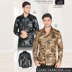 Camisa Montero Western 0715 Negro Beige