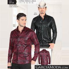 Camisa Vaquera Montero Western 0716 Negro Vino