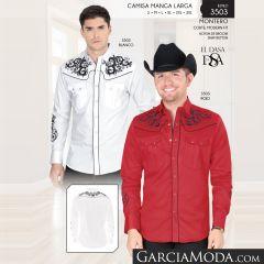 Camisa Vaquera Montero Western 3503 Blanco Rojo