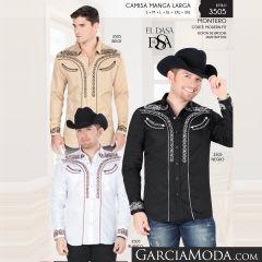 Camisa Vaquera Montero Western 3505 Beige Blanco Negro