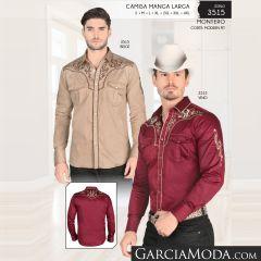 Camisa Vaquera Montero Western 3515 Beige Vino