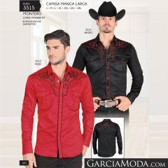 Camisa Montero Western 3515 Negro Rojo