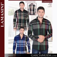Camisa Vaquera Lamasini 1737-Beige-Negro-Azul