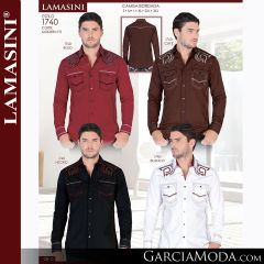 Camisa Vaquera Lamasini 1740-Rojo-Cafe-negro-Blanco