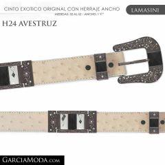 CINTO PIEL EXOTICA LAMASINI WESTERN H24 Avestruz Color Hueso